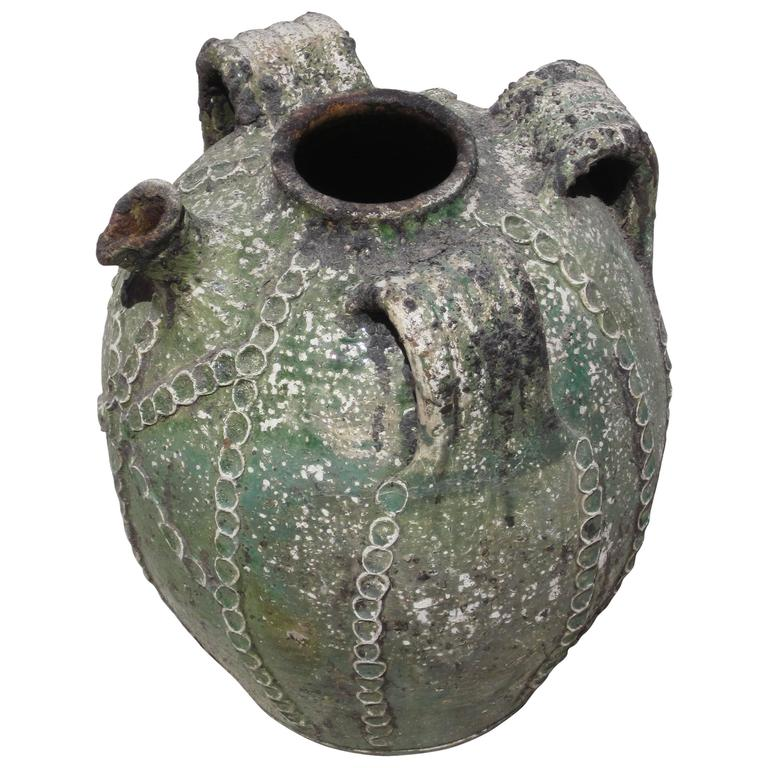 19th Century Textured Green Jug with Handles and Spout, France For Sale