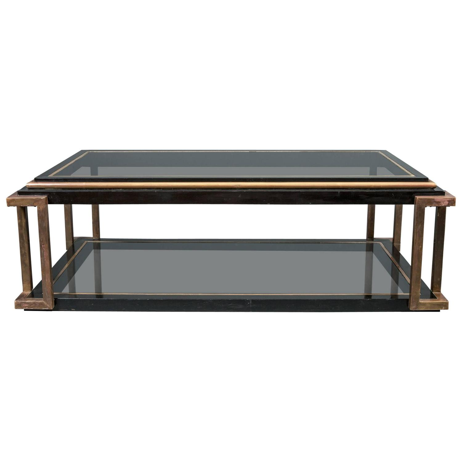 Italian Glass Top Cocktail Table For Sale At 1stdibs