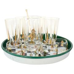 17 Piece Mid-Century Modern Chess Themed Bar Set