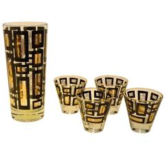 Mid-Century Modern Black and Gold Starburst Shaker and Four Rocks Glasses