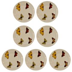 "S/7 Mid Century Modern L. Bernardaud Porcelain ""Butterfly"" Pattern Canape Plates"