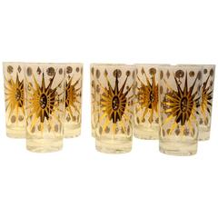 Eight Fred Press Mid- Century White & Gold Celestial Pattern Tom Collins Glasses