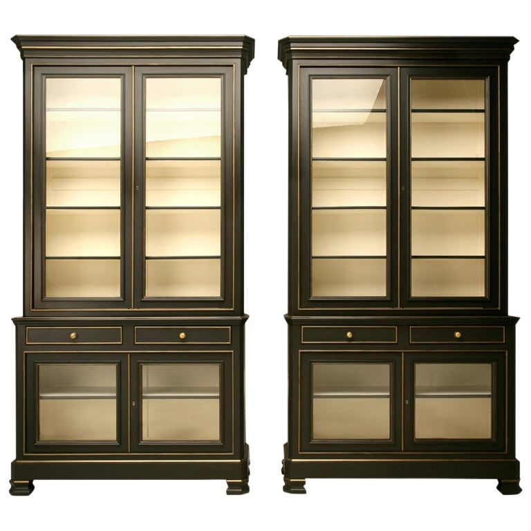 Pair of Painted Louis Philippe Style Bookcases/Cabinets