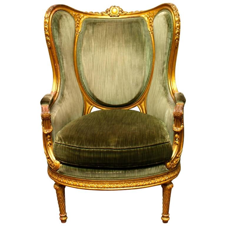 French Louis XVI Style Giltwood Bergere For Sale