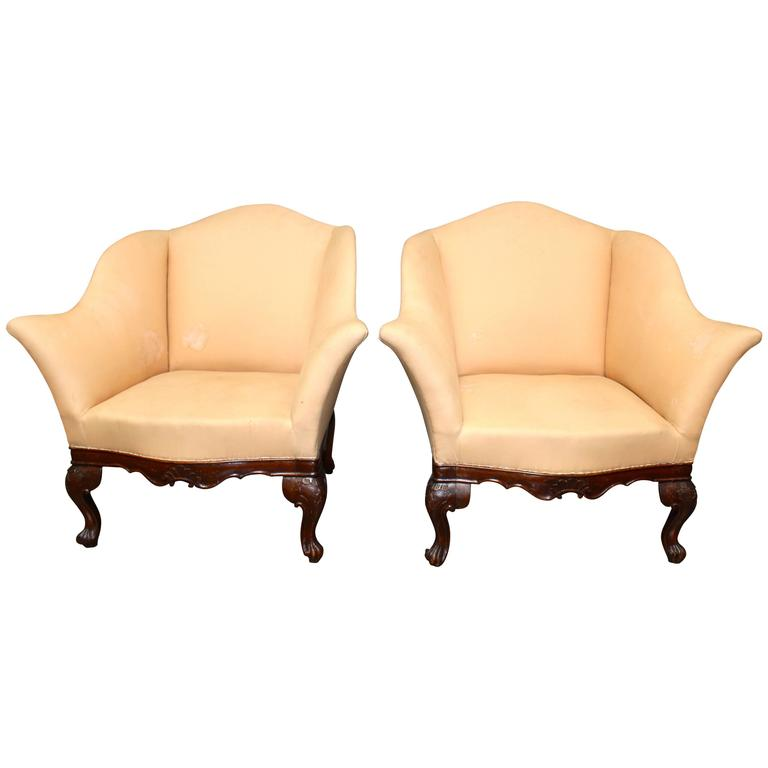 Pair of Carved Walnut Italian Armchairs