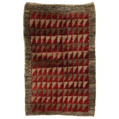 Vintage Turkish Tulu Rug with Mid-Century Modern Style