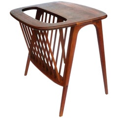 American Midcentury Solid Walnut Cocktail Table and Magazine Rack by Umanoff