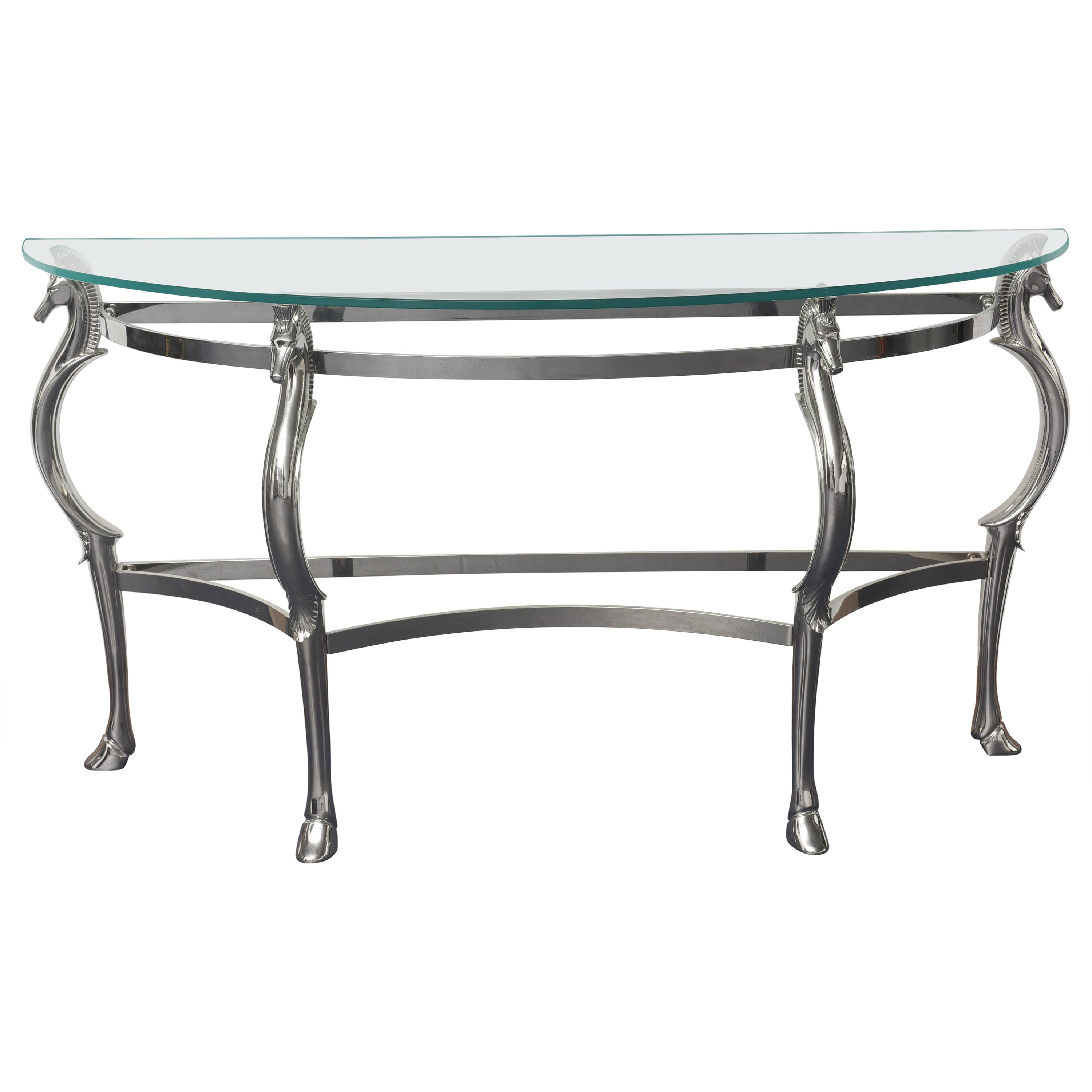 Mid-Century Glass & Chrome with Horse Shaped Legs Console Table