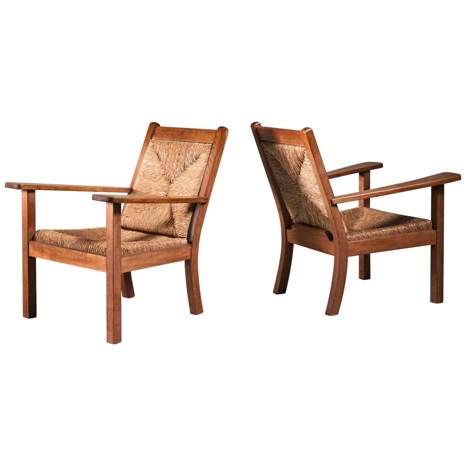 Pair of Willi Ohler Chairs in Oak and Original Rush Germany