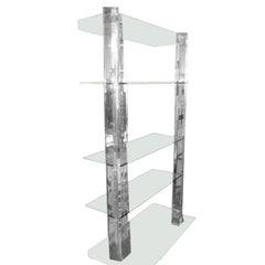 Lucite and Glass Bookshelf Etagere