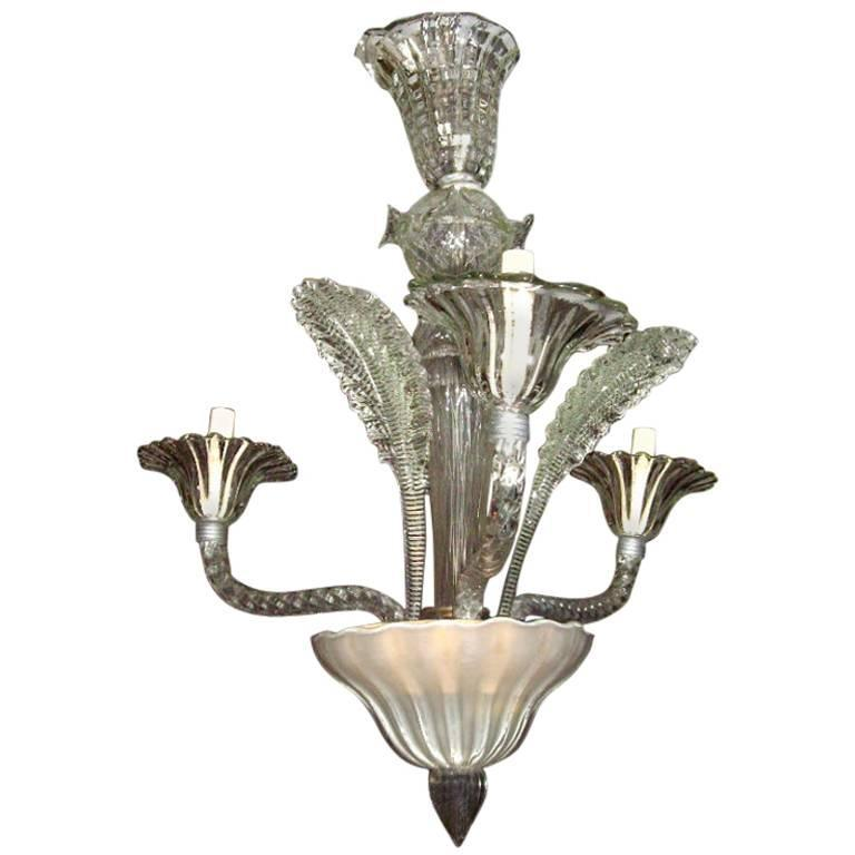 Murano Glass Three-Arm Chandelier
