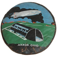 Machine Age Art Deco U.S.S. Akron Goodyear Zeppelin Cushion Price Reduced