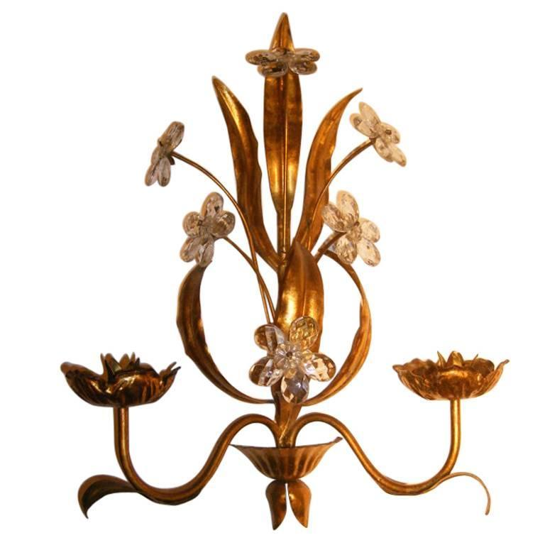 Tall Metal Wall Sconces : Large Gilt Metal Sconces For Sale at 1stdibs