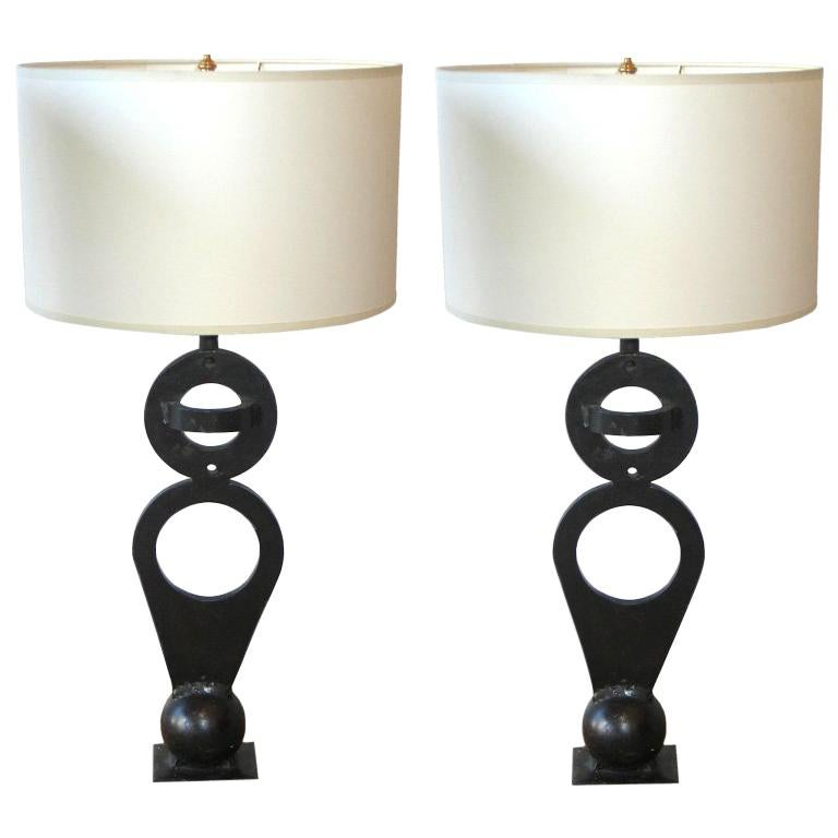 Pair of French Midcentury Wrought Iron 'Sculptural' Table Lamps, circa 1960 For Sale