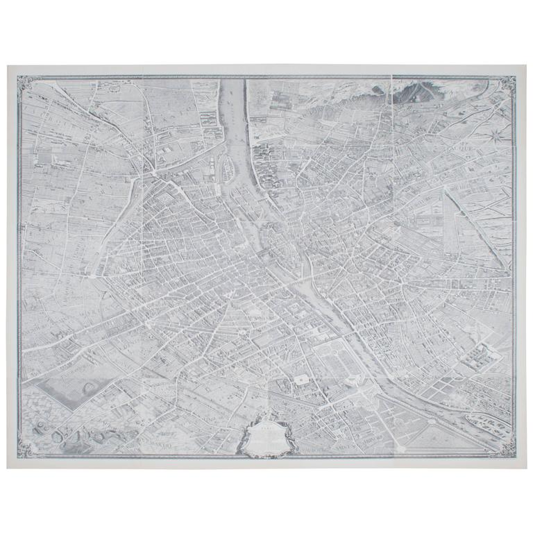 Large Map of Paris, France For Sale