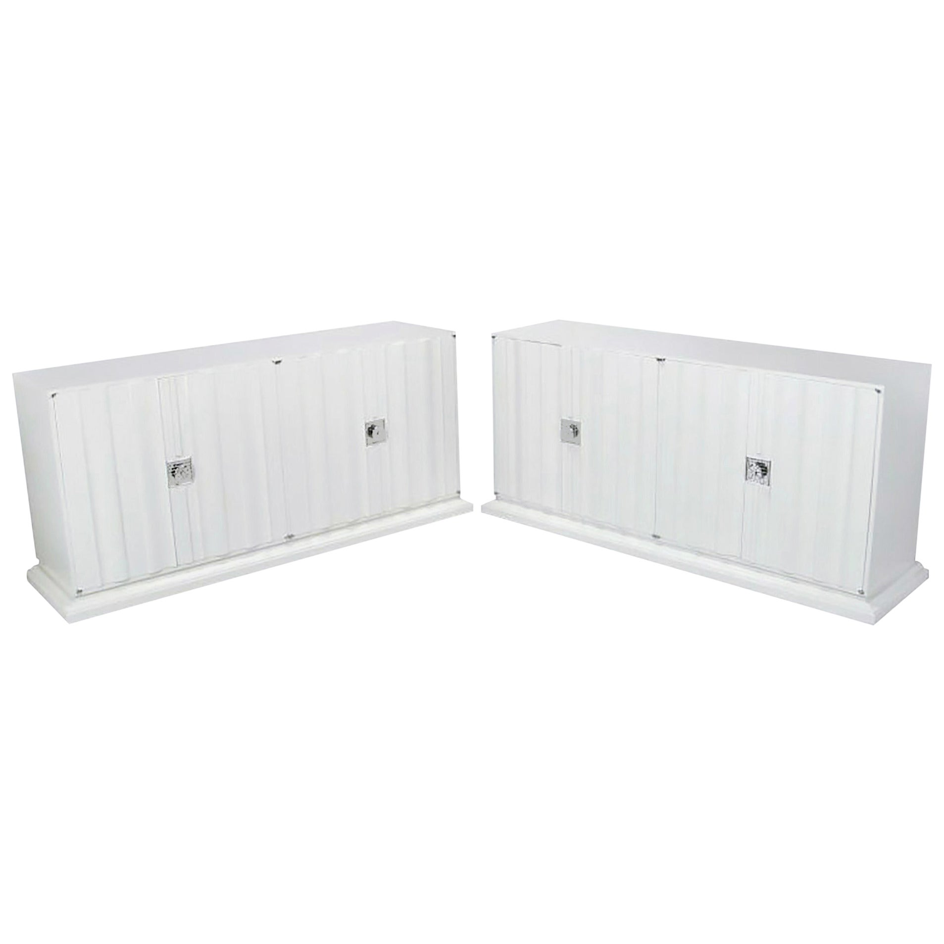 Pair of Custom White Lacquer Linen Fold Cabinets