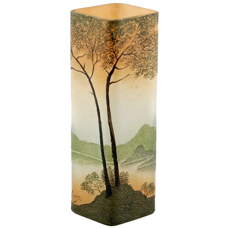art nouveau legras enameled cameo glass vase with landscape motif for sale at 1stdibs. Black Bedroom Furniture Sets. Home Design Ideas