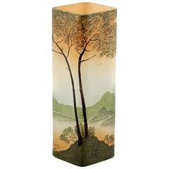 Art Nouveau Legras Enameled Cameo Glass Vase with Landscape Motif