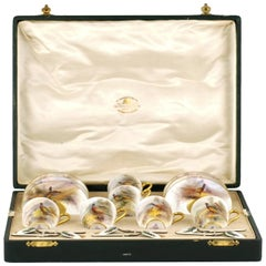Royal Worcester James Stinton Cased Coffee Set with Enameled Sterling Spoons