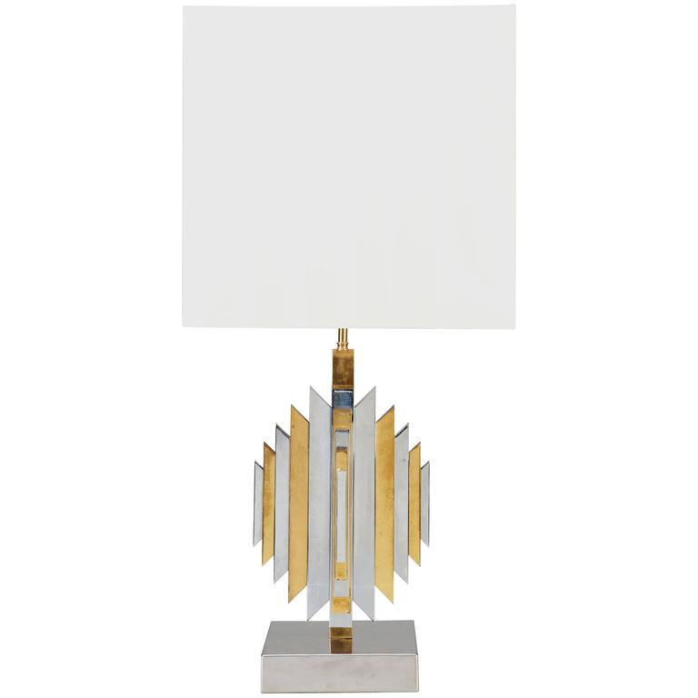 Brass and Chrome Romeo Rega Style Table Lamp