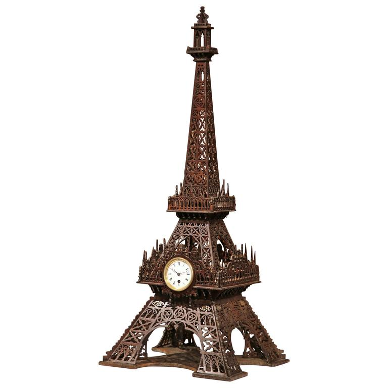19th Century French Hand Carved Eiffel Tower with Centre Clock For Sale