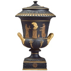 Wedgwood Black and Gilt Basalt Covered Potpourri Vase, circa 1870