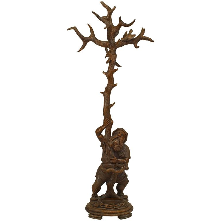 19th Century Black Forest Carved Walnut Gnome Coat Rack and Umbrella Stand