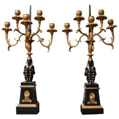 Pair of French Egyptian Revival First Empire Style Candelabras