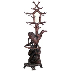 19th Century Rustic Black Forest Carved Walnut Coat Stand