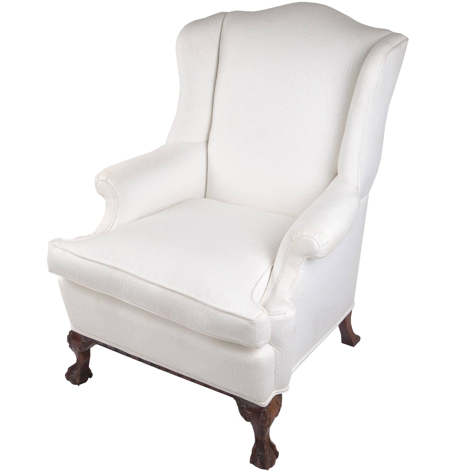 Wingback Chair On Claw And Ball Foot, Mahogany Frame