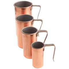 Vintage Copper Measuring Cup Set by Benjamin & Medwin