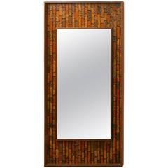 Danish Modern Mirror with a Textured Mosaic Surround