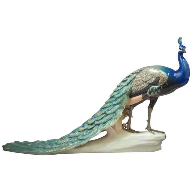 German Porcelain Peacock, Nymphenburg, circa 1920