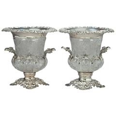 Pair of Edwardian Silver and Cut-Glass Mounted Wine Coolers