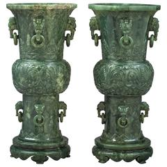 Pair of Spinach Jade Vases on Stand