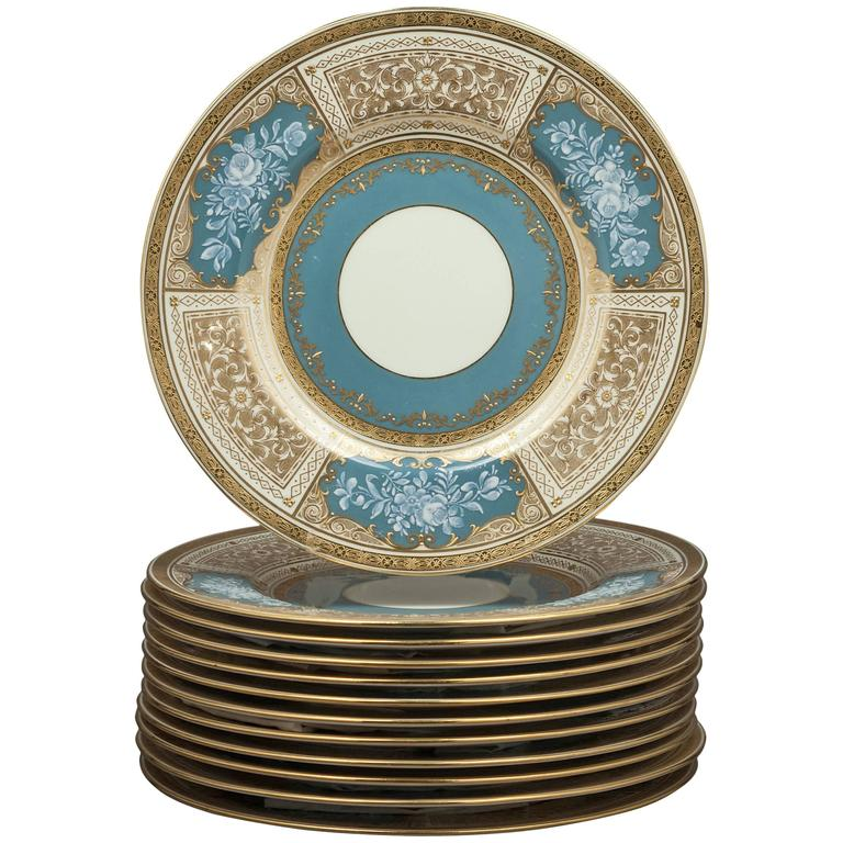 Set of 12 Minton, Pate-sur-Pate Plates, circa 1890