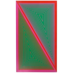 Optical and Geometric Pink and Green Painting by Richard Anuskiewicz