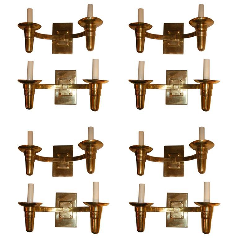 Set of Eight Moderne Sconces