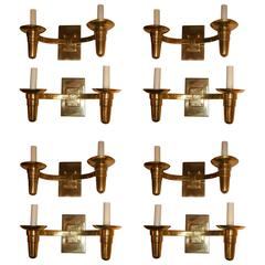 Set of Eight Moderne Sconces