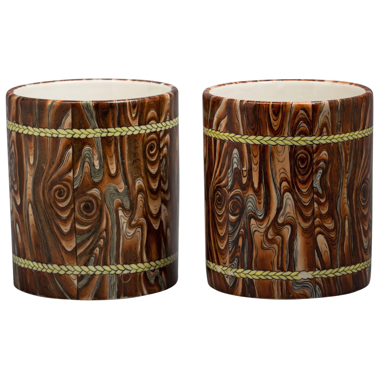 pair of chinese porcelain faux bois brush pots 20th. Black Bedroom Furniture Sets. Home Design Ideas