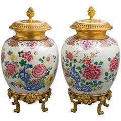 Pair of Bronze-Mounted Chinese Porcelain Covered Vases, circa 1800