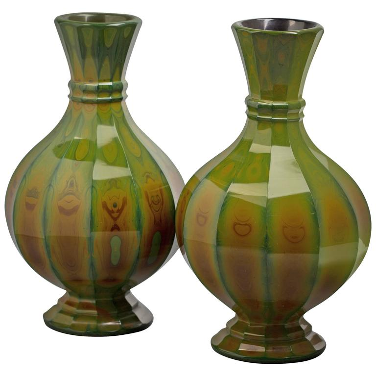 Pair of Bohemian Lithyalin Glass Vases, circa 1820