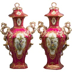 Pair of English Porcelain Covered Urns, Minton, circa 1840