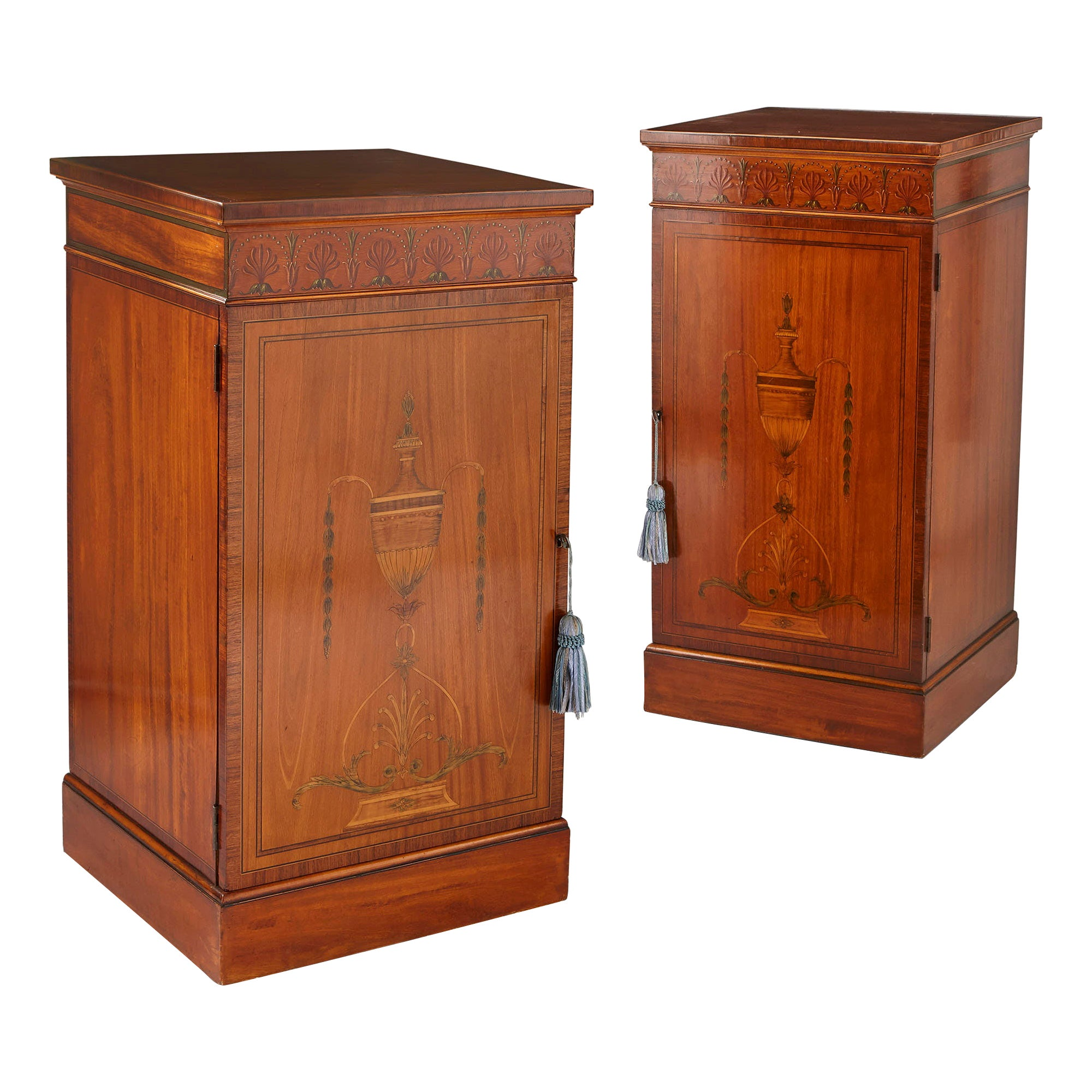 Two Antique Satinwood and Rosewood Marquetry Cabinets