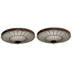 Set of 5 Flush Mounted Leaded Glass Light Fixtures, Sold Individually