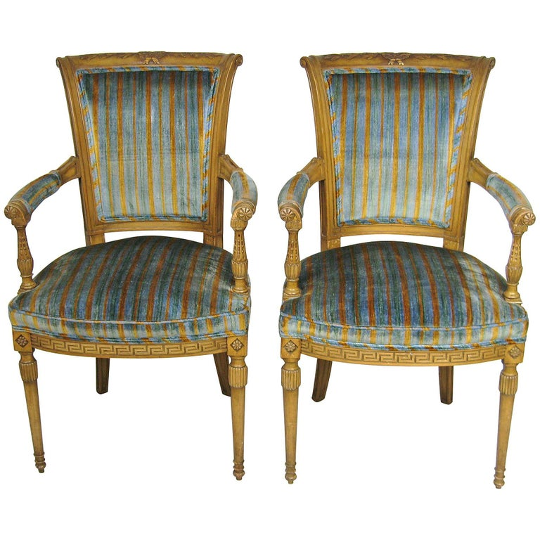 Pair of Painted Italian Louis XVI Carved Armchairs