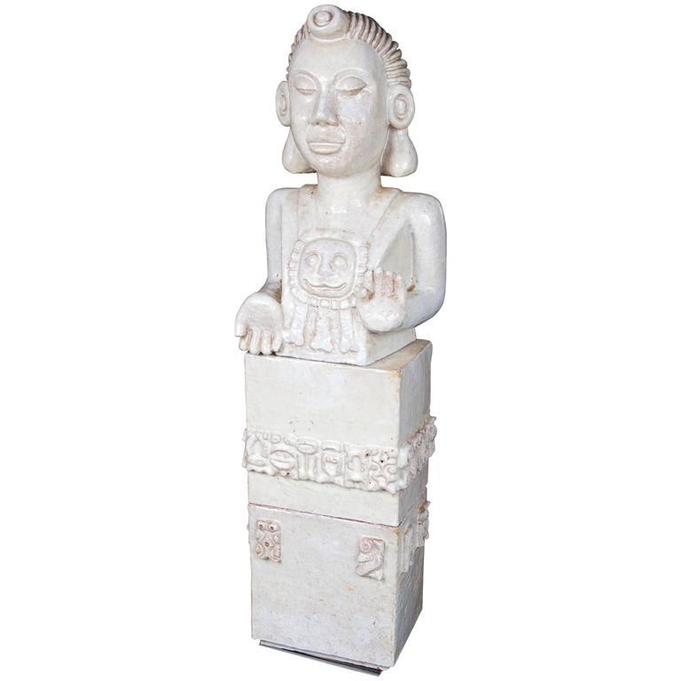 Whimsical White Glazed Terra Cotta Sculpture of Asian Goddess