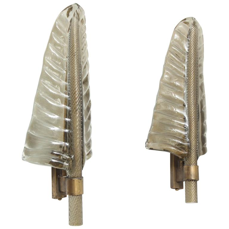 Wall Sconces With Leaves : Pair of Murano Leaf Wall Sconces at 1stdibs