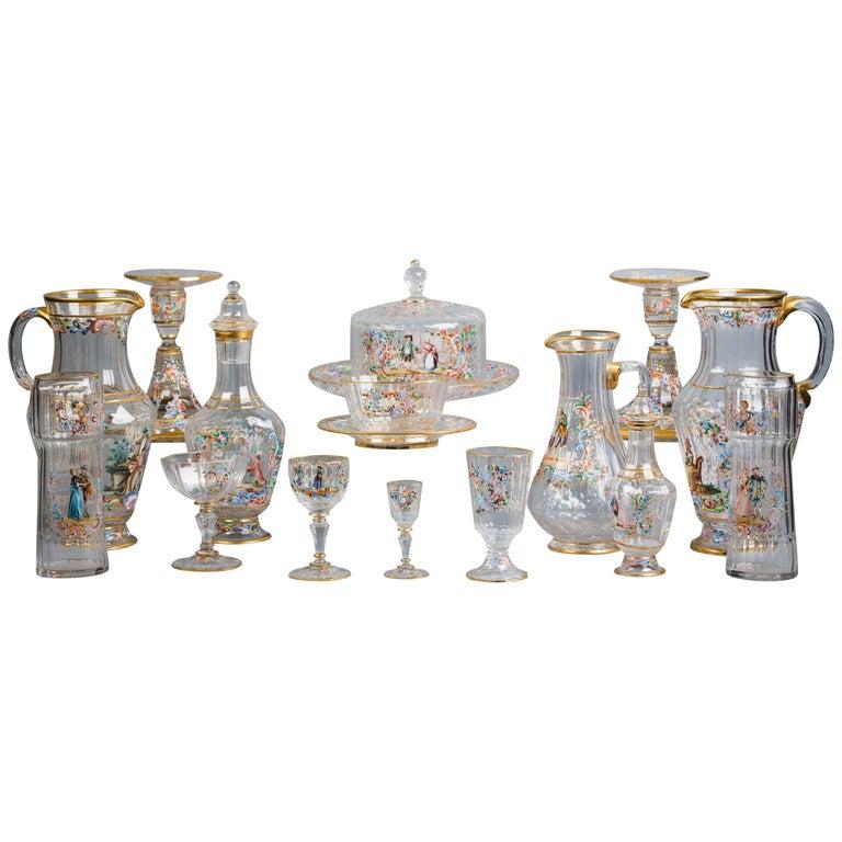 Austrian Enamel Table Glassware, Lobmeyr, circa 1890 For Sale