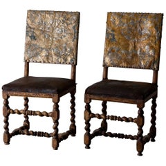 Chairs Pair Swedish Original Gilded Leather Baroque Period 18th Century Sweden